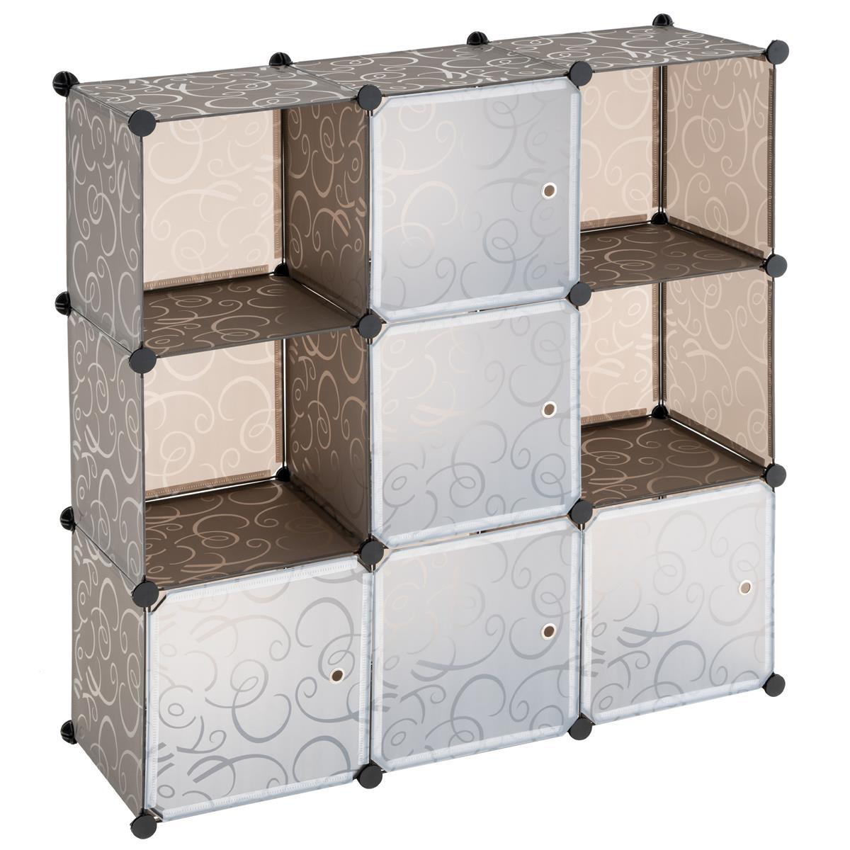 Steckregalsystem braun 108x110x37cm mit Ablagefächern und Türen DIY erweiterbar