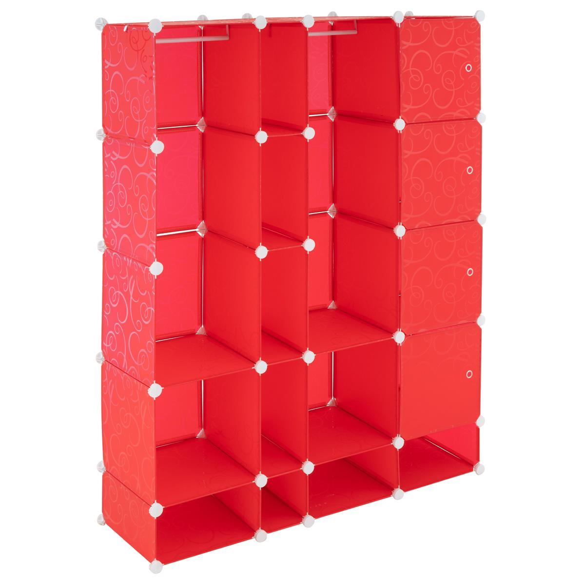 Kleiderschrank Garderobenschrank rot 161x127x37cm Steckregalsystem DIY