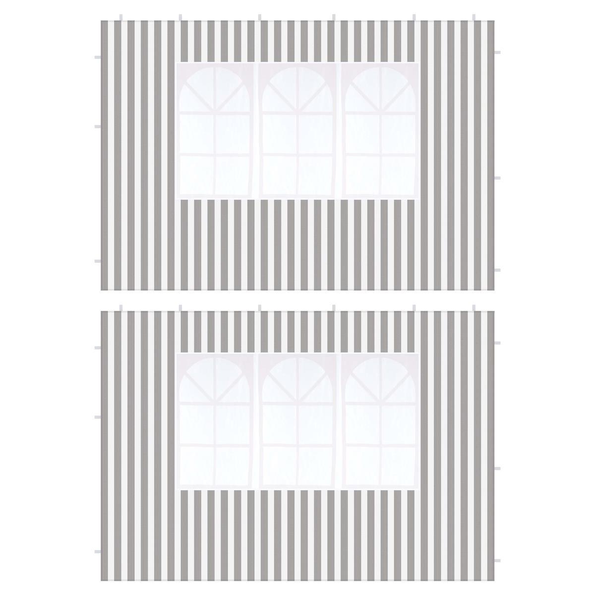 2 Seitenteile 3m für Pavillon PE Seitenwände anthrazit Fenster 100 g/m² wasserdi