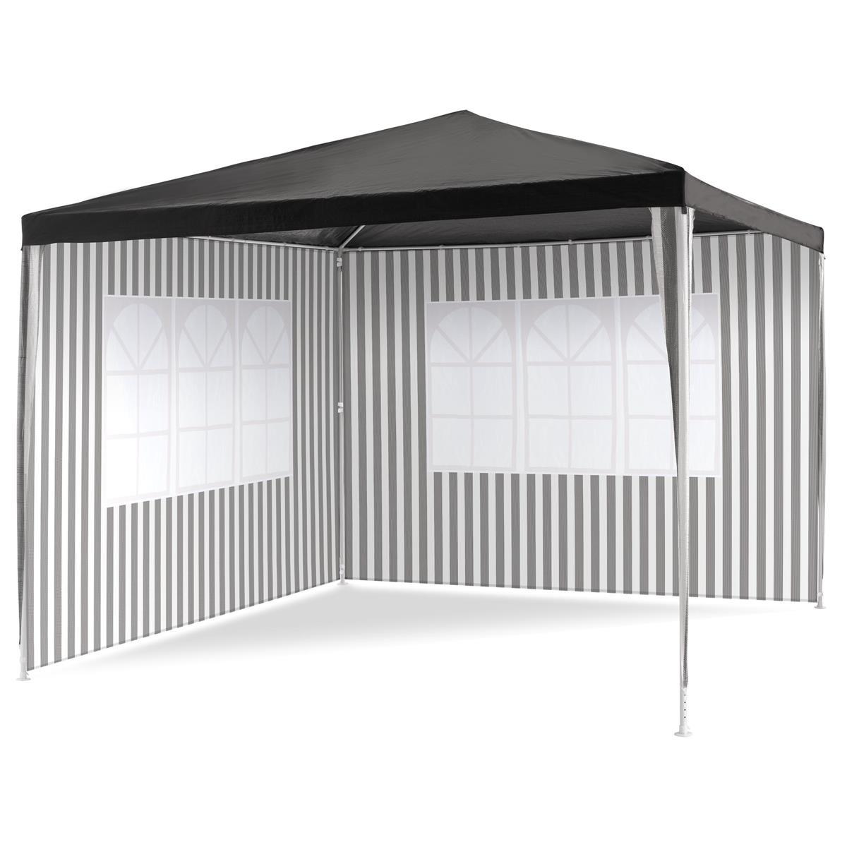 Pavillon 3x3 m in anthrazit PE Plane 2 Seitenteile Partyzelt Gartenzelt Sonnenschutz