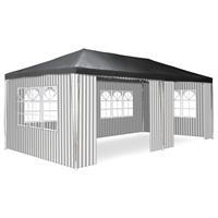 Pavillon Partyzelt anthrazit 3x6m PE 110g/m² Gartenzelt Festzelt Eventzelt Markt