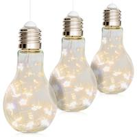 3er Set Glas-Glühbirne 10 LED warm weiß 17 cm hoch Batterie Wohndeko Partydeko