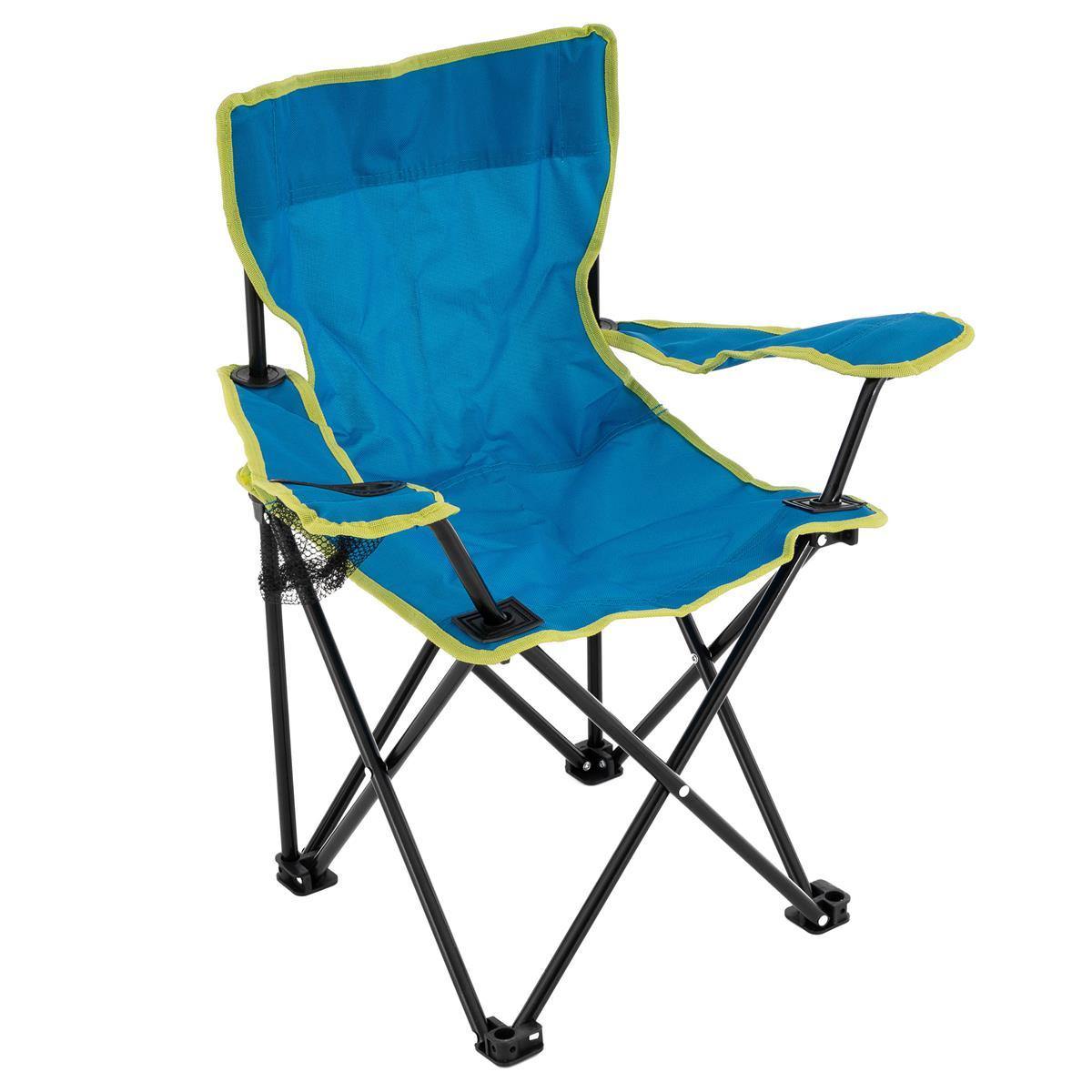 Kinder Campingstuhl Faltstuhl Angelstuhl mit Getränkehalter Tasche stabil blau