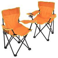 2er Set Kinder Campingstuhl Faltstuhl Transporttasche Getränkehalter orange