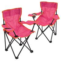 2er Set Kinder Campingstuhl Faltstuhl Transporttasche Getränkehalter pink