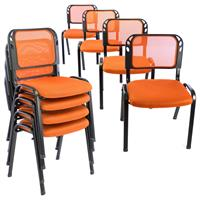 Besucherstuhl  8er Set Konferenzstuhl Sitzfläche orange gepolstert stapelbar