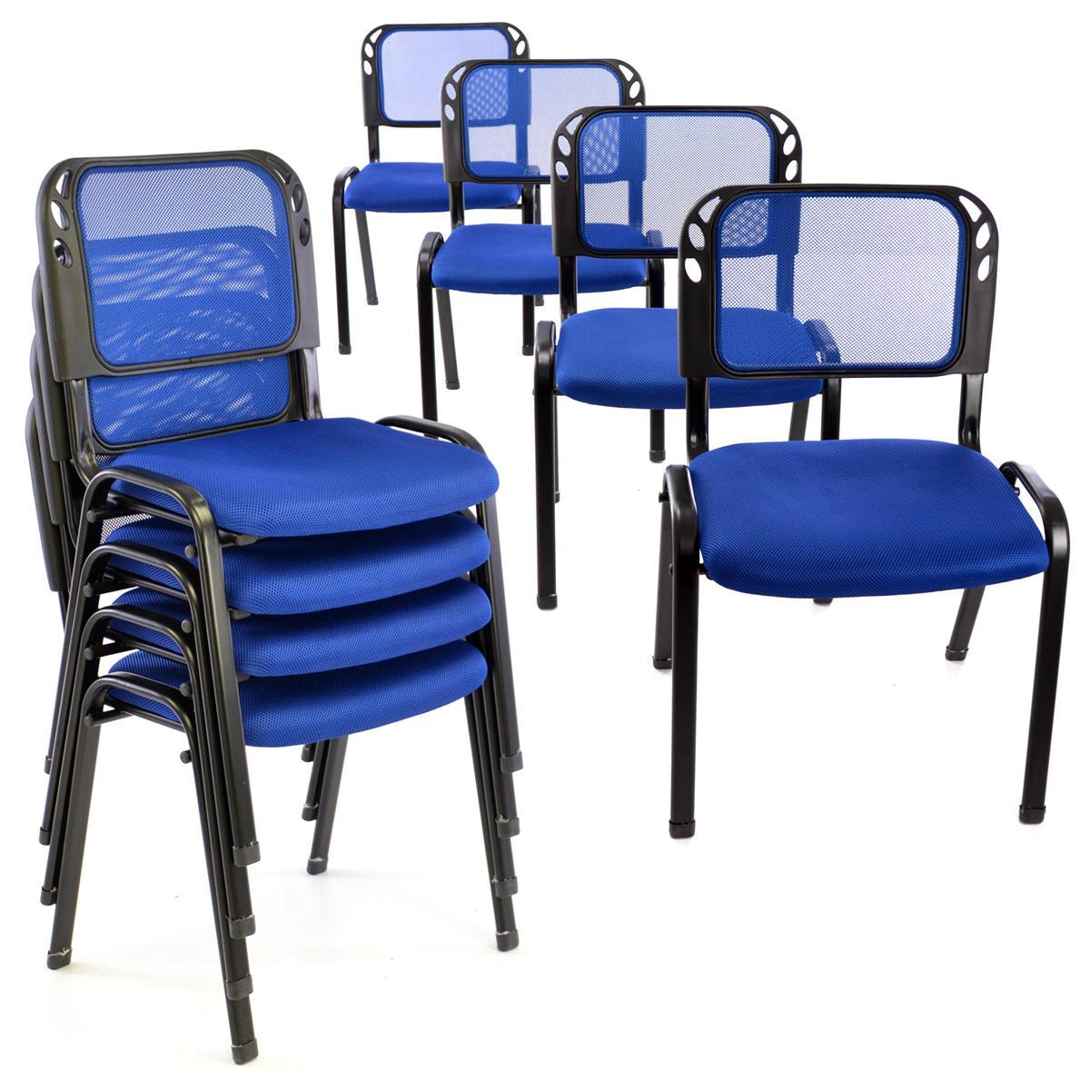 Besucherstuhl 8er Set Konferenzstuhl Sitzfläche blau gepolstert stapelbar
