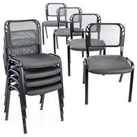 Besucherstuhl 8er Set Konferenzstuhl Sitzfläche Grau gepolstert stapelbar