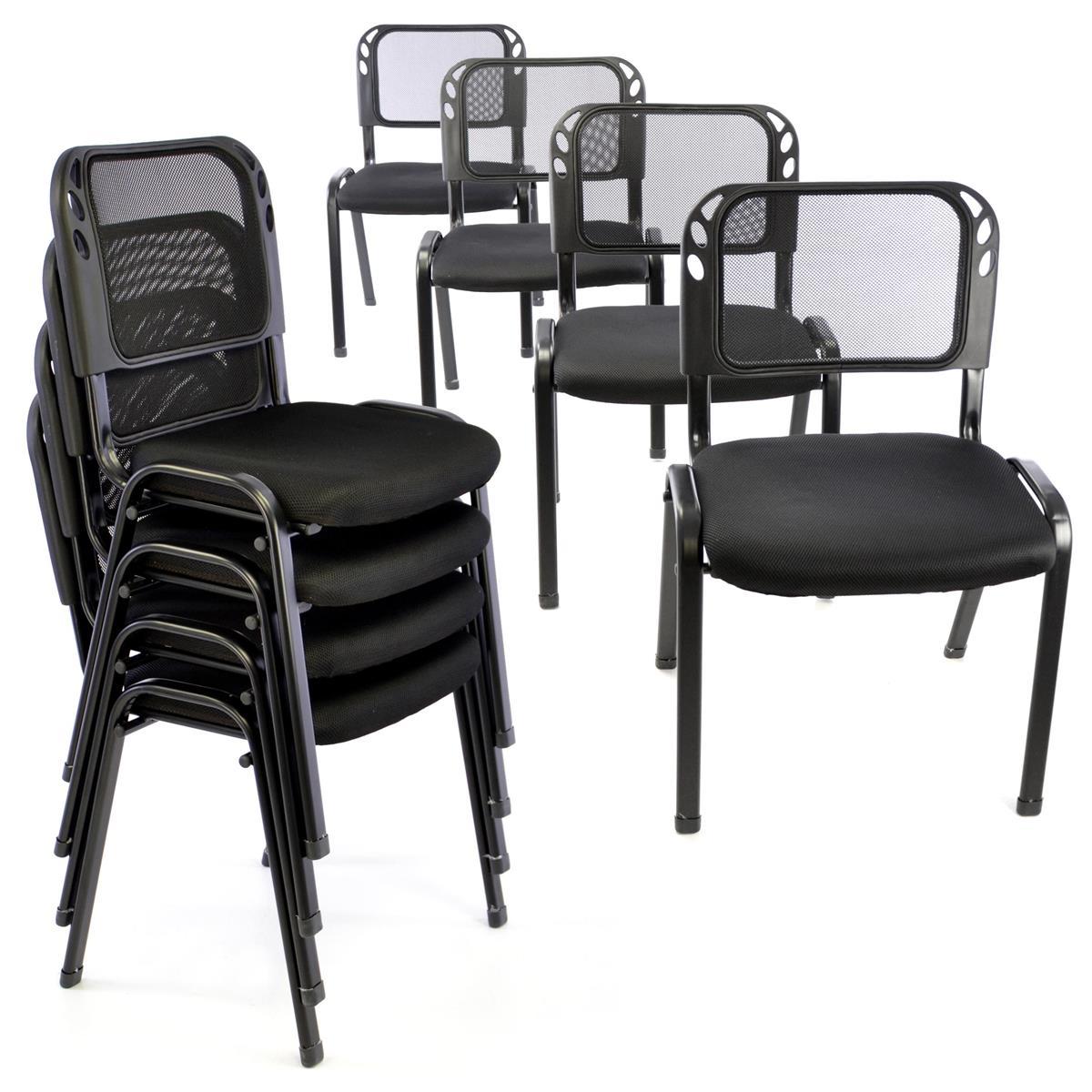Besucherstuhl 8er Set Konferenzstuhl Sitzfläche Schwarz gepolstert stapelbar