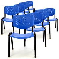 Besucherstuhl 8er Set Konferenzstuhl Sitzfläche Blau Kunststoff stapelbar