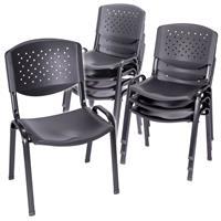 Besucherstuhl 8er Set Konferenzstuhl Sitzfläche schwarz Kunststoff stapelbar