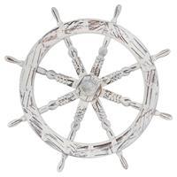 Schiffsteuer Holzrad whitewash Dekorad Speichenrad Gartendeko Ladendeko 60 cm
