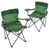 2er Set Angelstuhl Faltstuhl Campingstuhl mit Armlehne und Getränkehalter grün