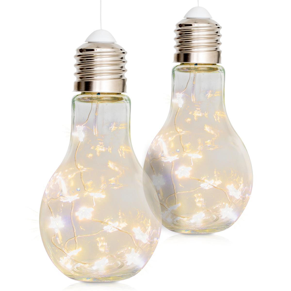 2er Set Glas-Glühbirne 10 LED warm weiß 17 cm hoch Batterie Wohndeko Partydeko