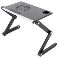 Laptoptisch Aluminium Platte 48x28 cm silber-schwarz verstellbar USB-Lüfter