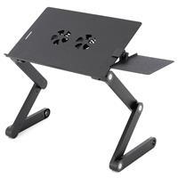 Laptoptisch Aluminium Platte 42x28cm silber-schwarz USB-Lüfter Mousepadablage