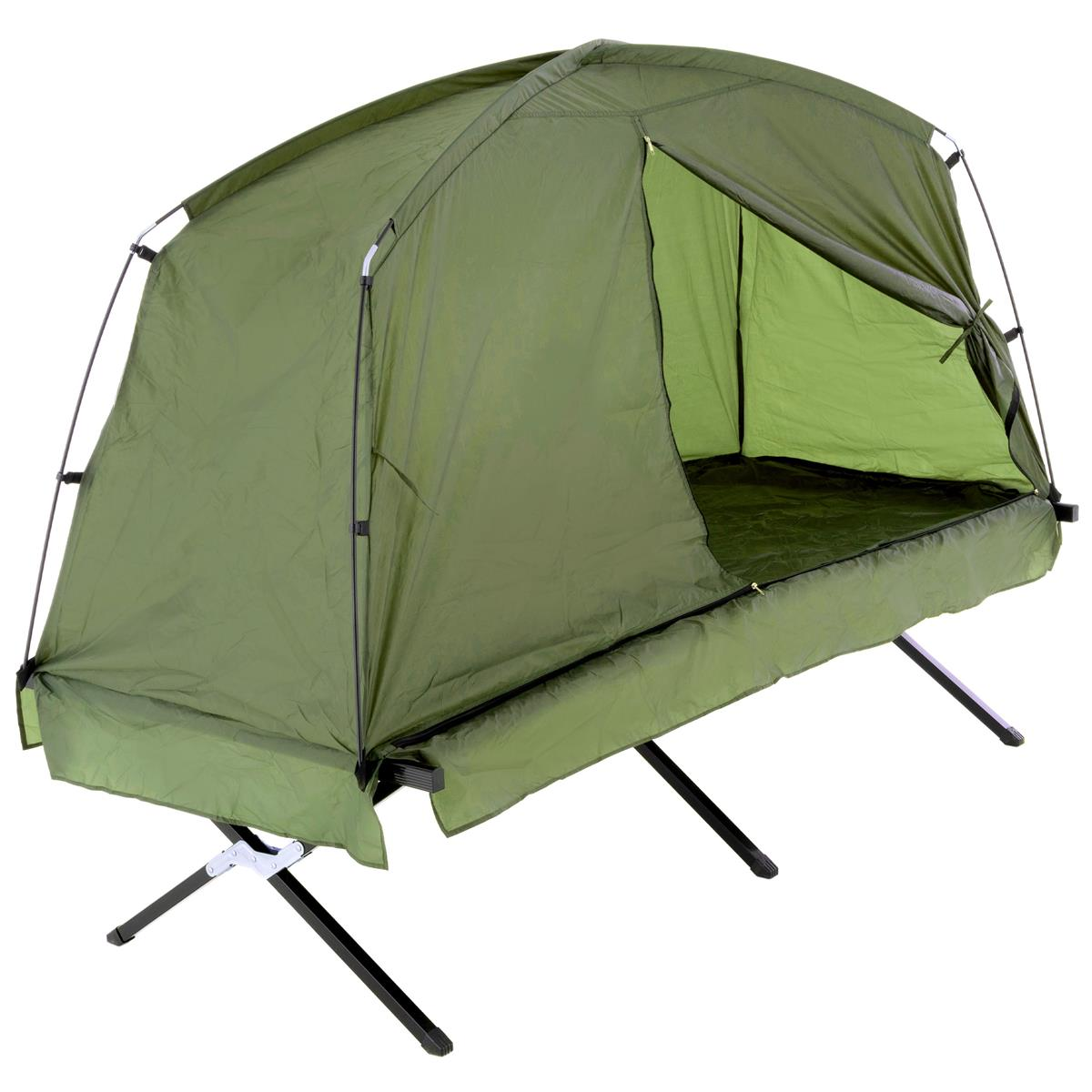 Survival-Zelt Feldbett mit Zelt185x76x154 cm grün Angelzelt Campingliege Angeln