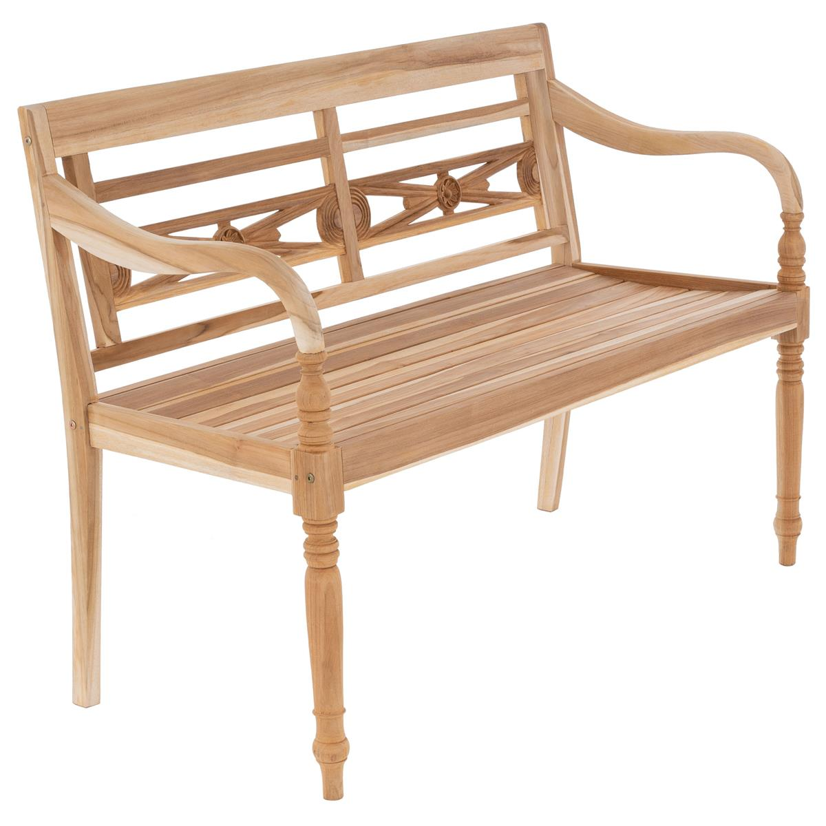 DIVERO 2-Sitzer Gartenbank Parkbank antik hochwertig Teak Holz natur 120 cm