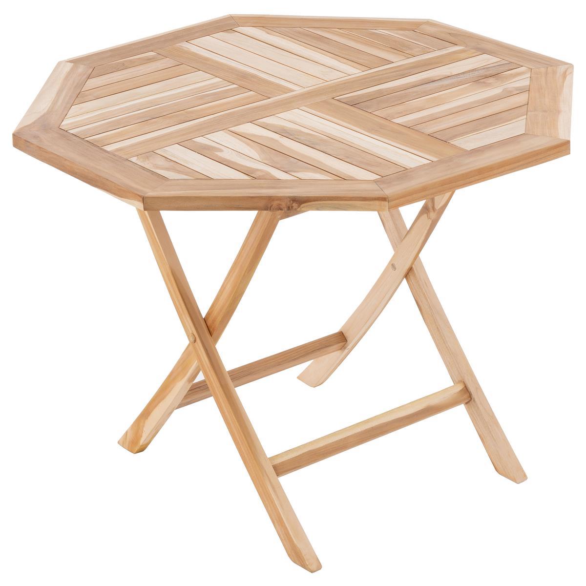 DIVERO Balkontisch Gartentisch Tisch Esstisch Holz Teak klappbar Ø 90cm natur