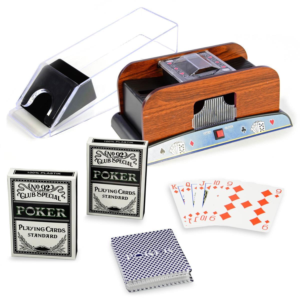 Pokerzubehör 3er Set Kartenmischer Kartengeber Plastikkarten Bundle dreiteilig
