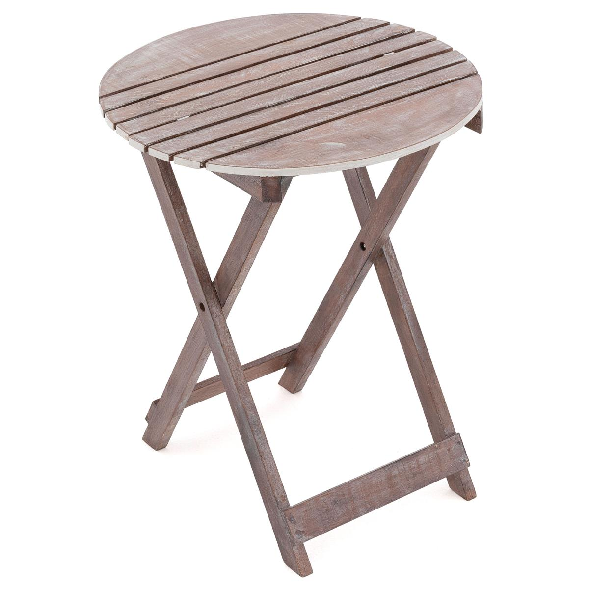 DIVERO Klapptisch Gartentisch Beistelltisch klappbar Holz Vintage rund Ø 50cm