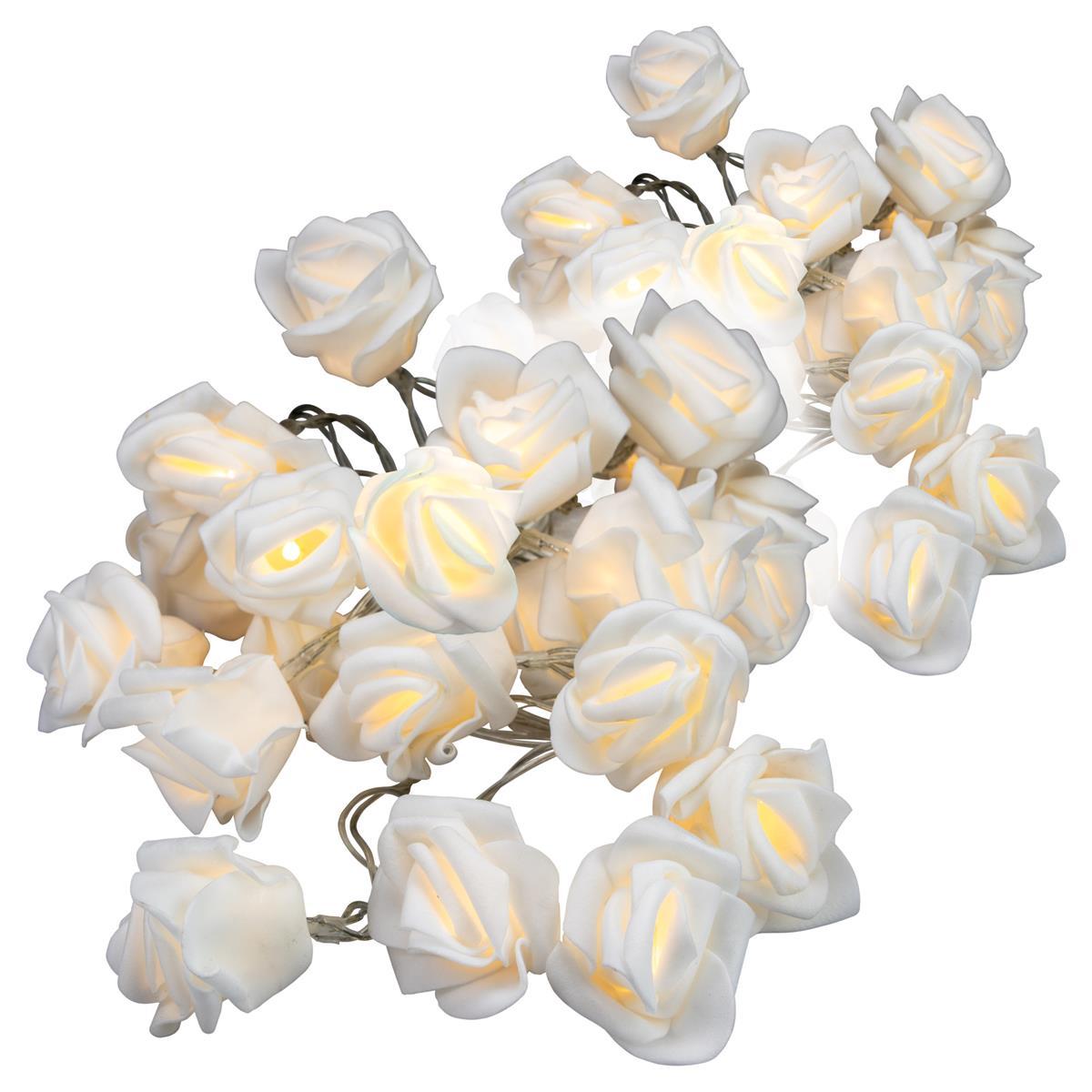 2er Set Rosenblütenkette mit 20 LED warm weiß Batterie transparentes Kabel