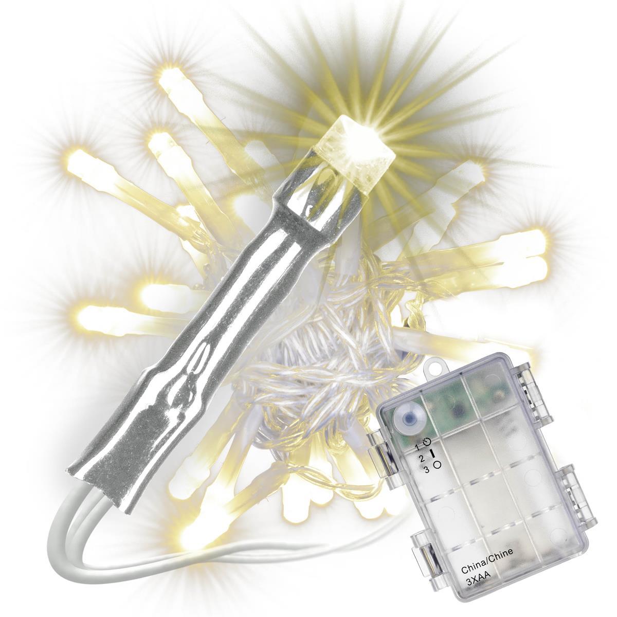 3er Set 30 LED Lichterkette mit Timer warm weiß transparentes Kabel Batterie