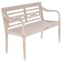 DIVERO 2-Sitzer Gartenbank Parkbank hochwertig Teak Holz white wash 120 cm