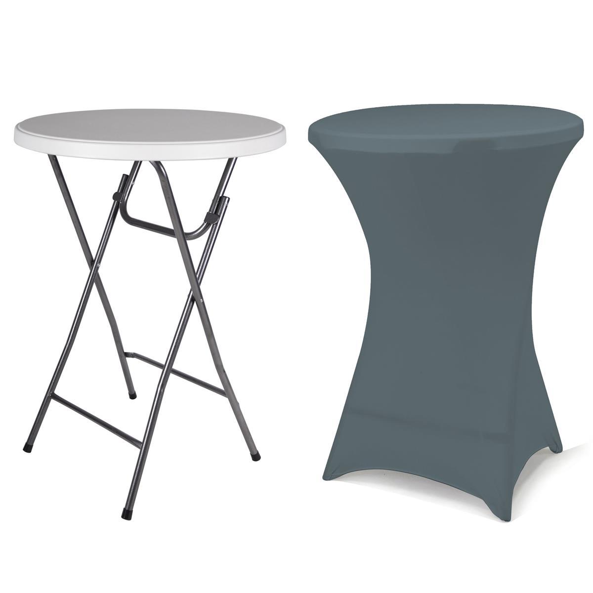 Partytisch Stehtisch mit Husse anthrazit klappbar Bistrotisch Bartisch 110 cm ru