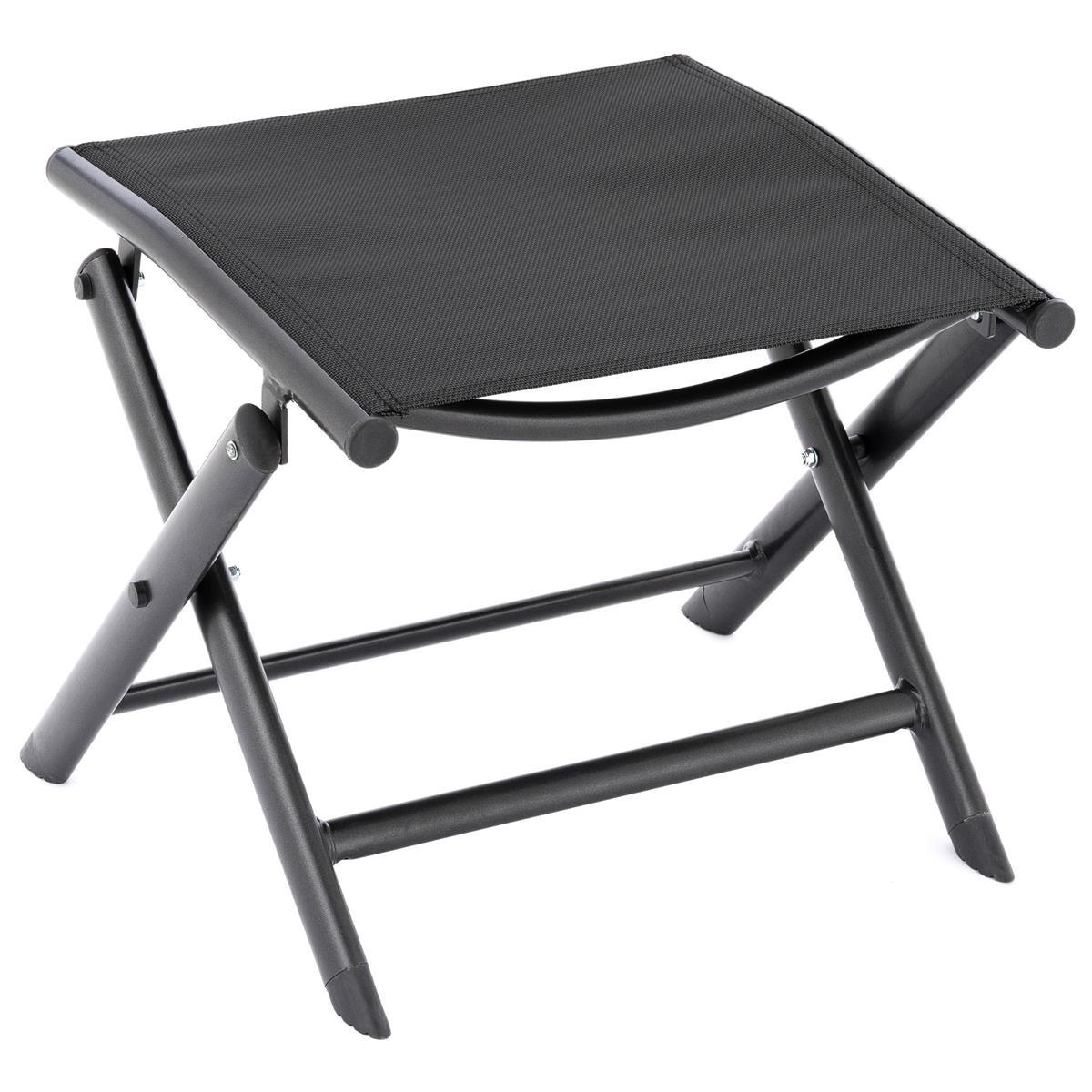 klappbarer Alu Hocker Sitzhocker Rahmen schwarz Textilene schwarz Klapphocker