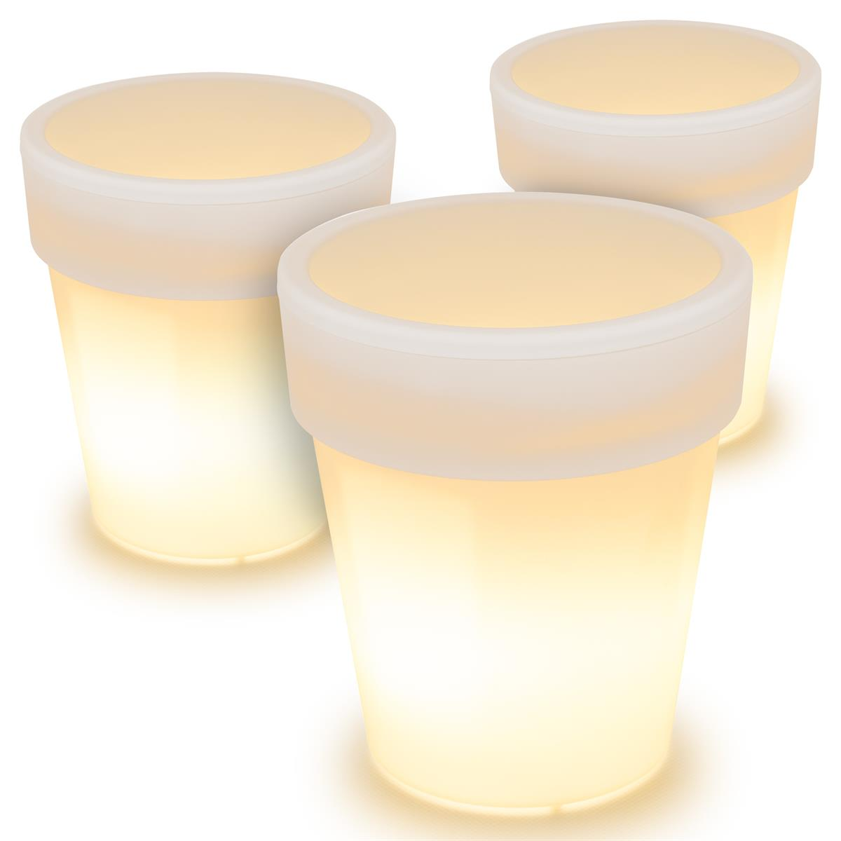 3er Set LED Solar Blumentopf warmweiß 3 LED 19x17 cm Pflanzkübel