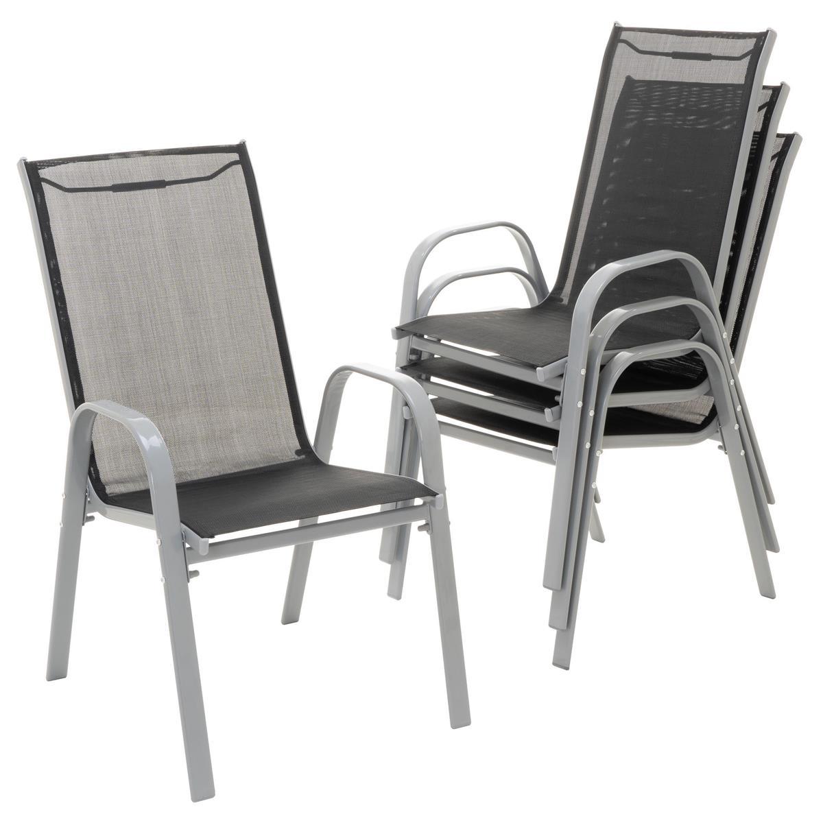 4er Set Gartenstuhl Stapelstuhl Stapelsessel Campingsessel schwarz Rahmen grau