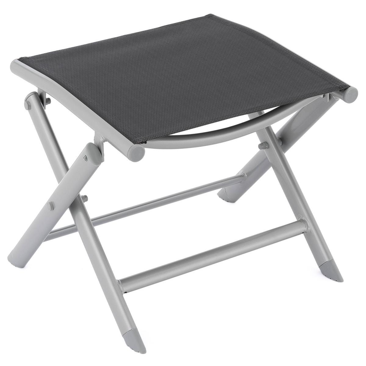 klappbarer Alu Hocker Sitzhocker Rahmen hellgrau Textilene schwarz Klapphocker