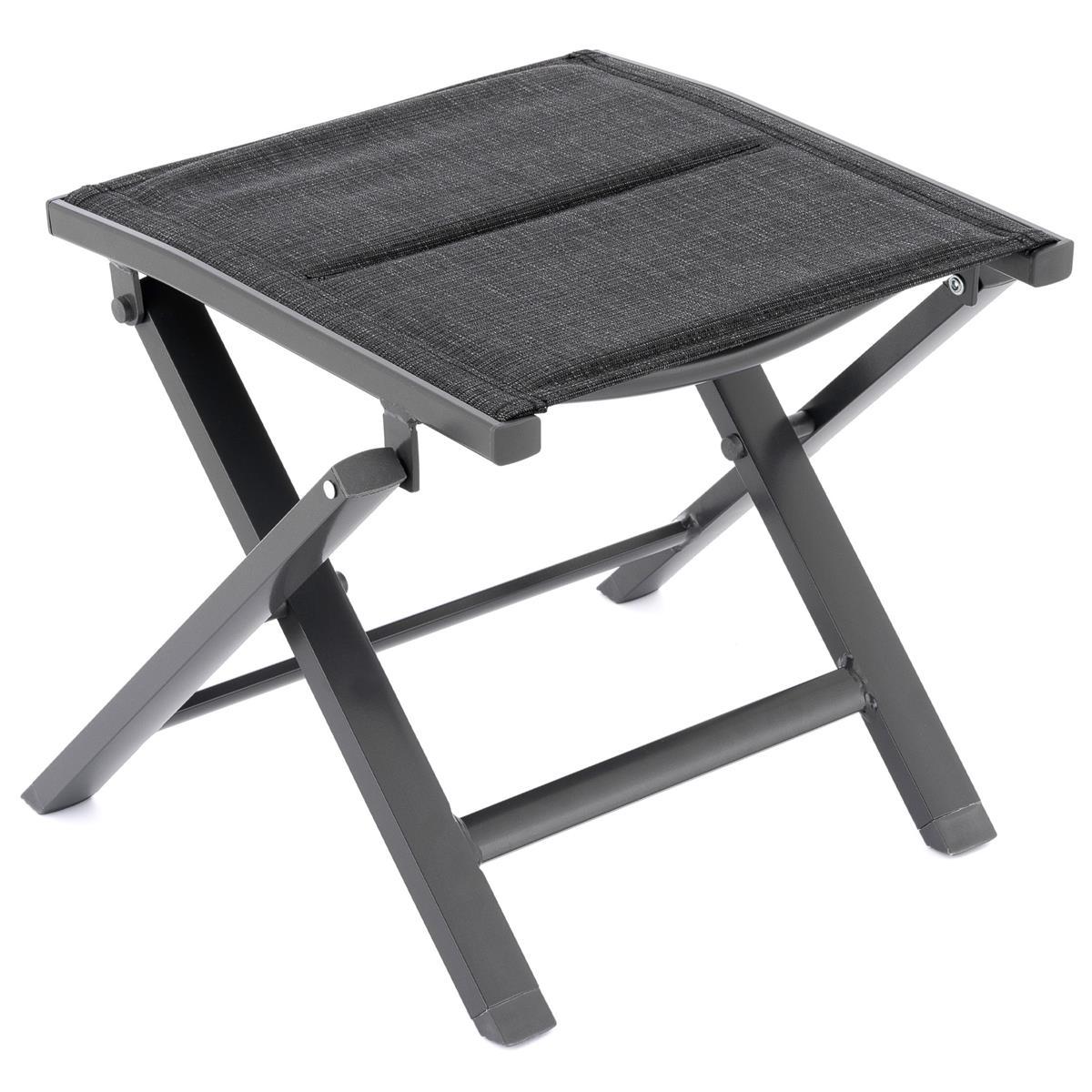 klappbarer Alu Hocker Rahmen grau Olefin schwarz Klapphocker Sitzhocker Camping
