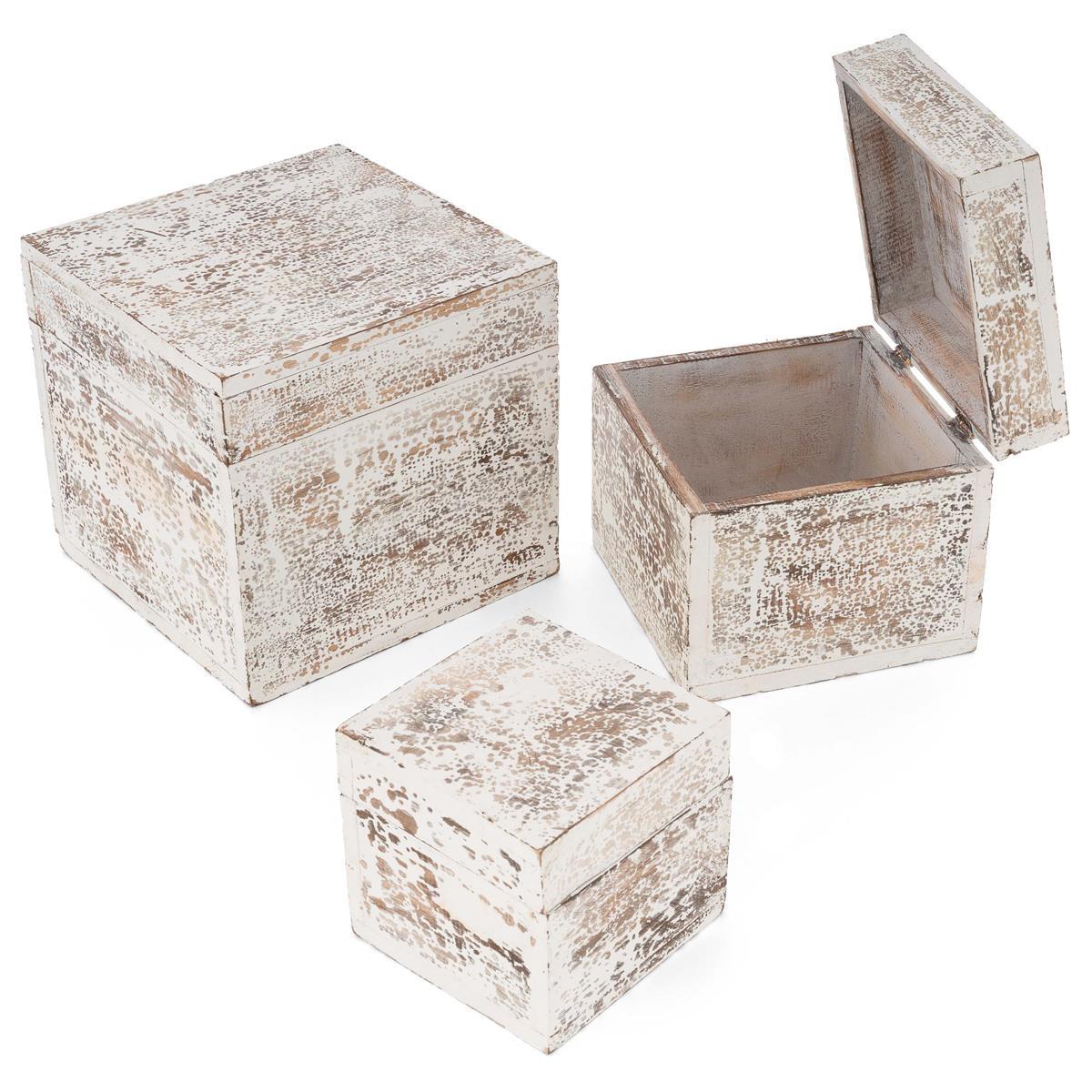 3-teiliges Holzboxen – Set mit Deckel Vintage Look Albacia Wood weiß