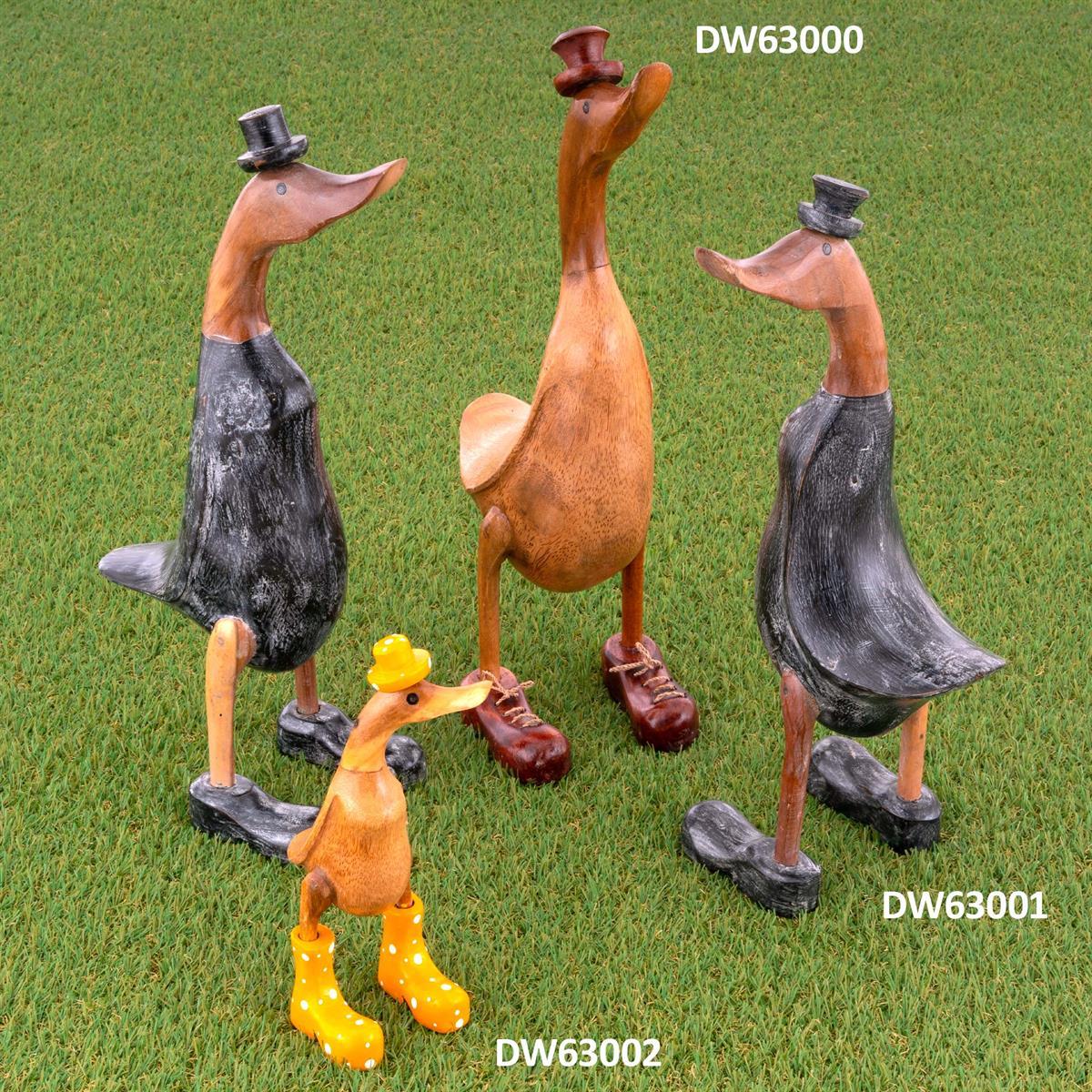 Handgemachte Deko Ente schwarzen Schuhen und Hut aus Bambus-Holz 45 cm