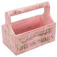 Dekorativer Blumenkasten Getränketräger Geschenkebox Albacia Holz pink