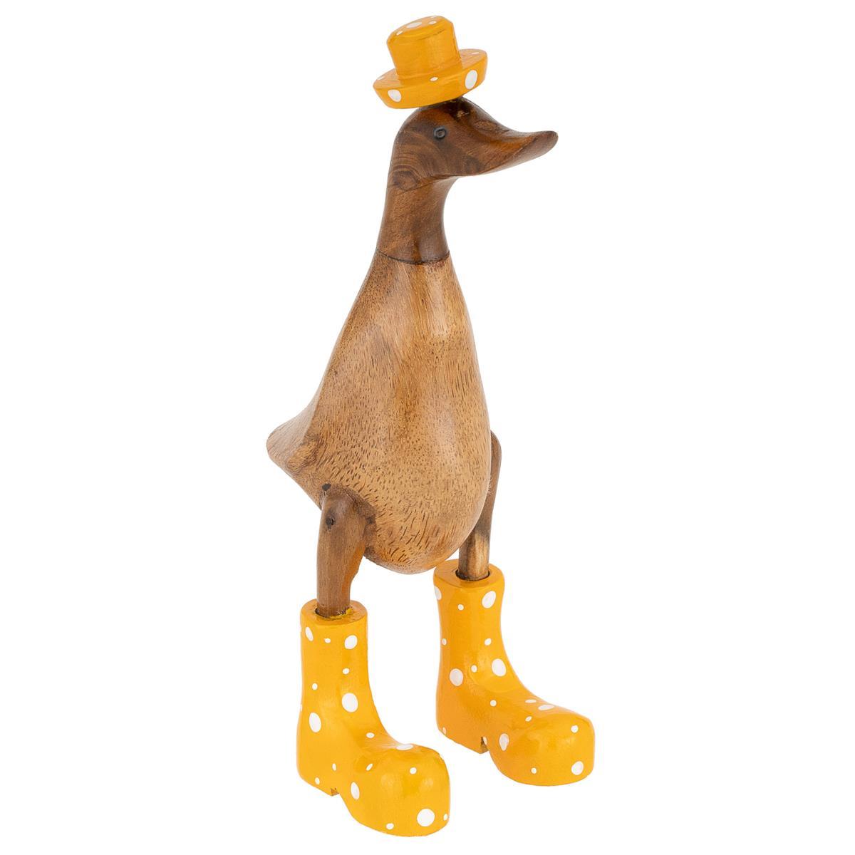 Handgemachte Deko Ente gelben Stiefeln und Hut aus Bambus-Holz 26 cm