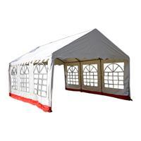 Hochwertiges Festzelt Partyzelt Pavillon 4x6 m weiß rot PVC Dach wasserdicht