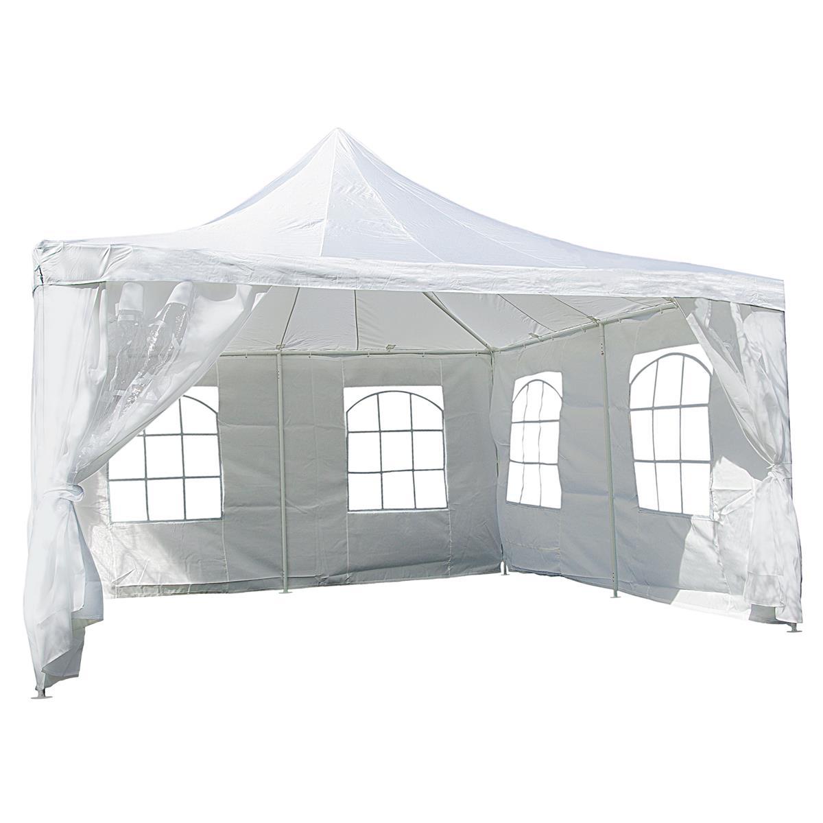 Partyzelt Pavillon Zelt Festzelt creme 4x 4m Polyester Dach wasserdicht 250 g/m²