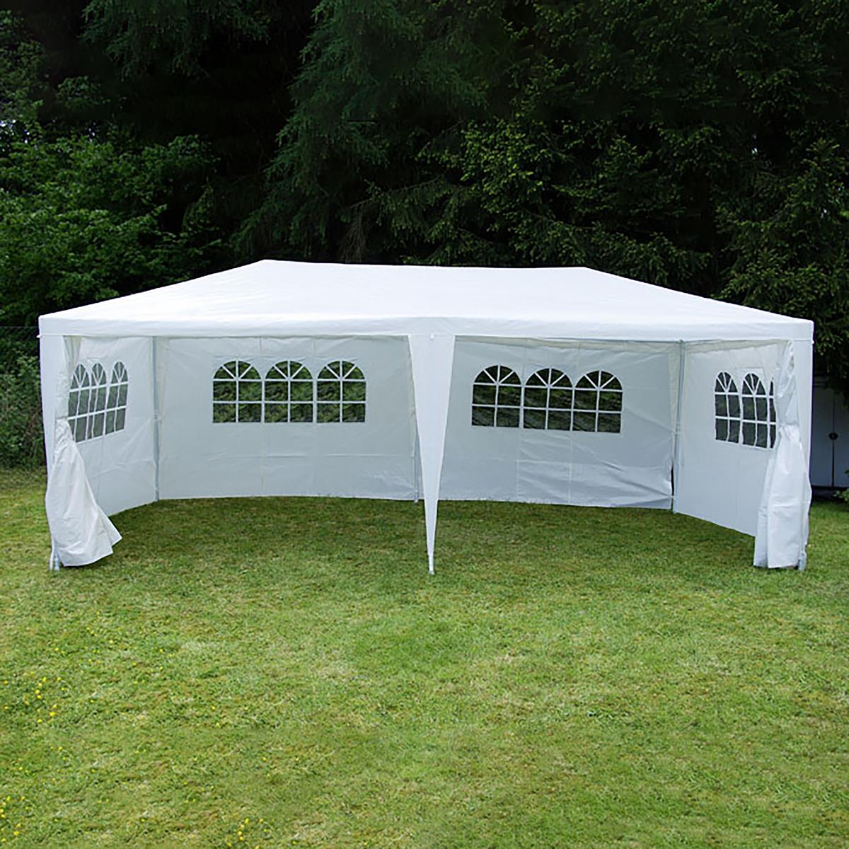 2 Seitenteile mit Fenster weiß für Pavillon Partyzelt PE 100 g//m² Zeltplane
