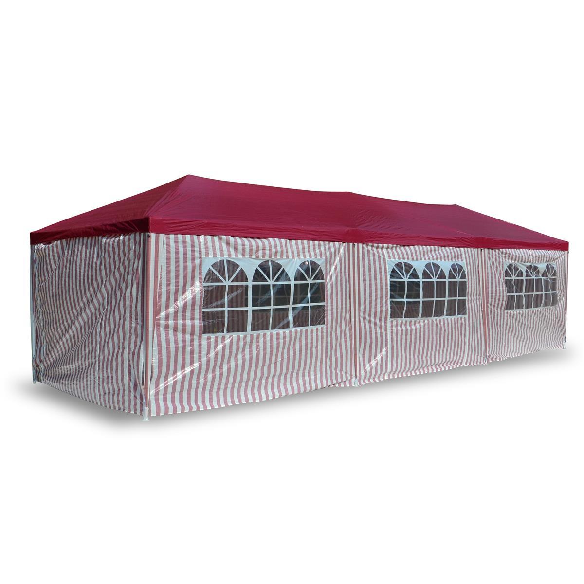 Pavillon Partyzelt Raucherzelt rot weiß 3x9m PE Gartenzelt Festzelt  Marktzelt