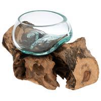 Handgemachte mundgeblasene Wurzelholz-Glasschale Teak Ø10cm