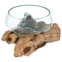 Handgemachte mundgeblasene Wurzelholz-Glasschüssel Glasschale Ø20cm