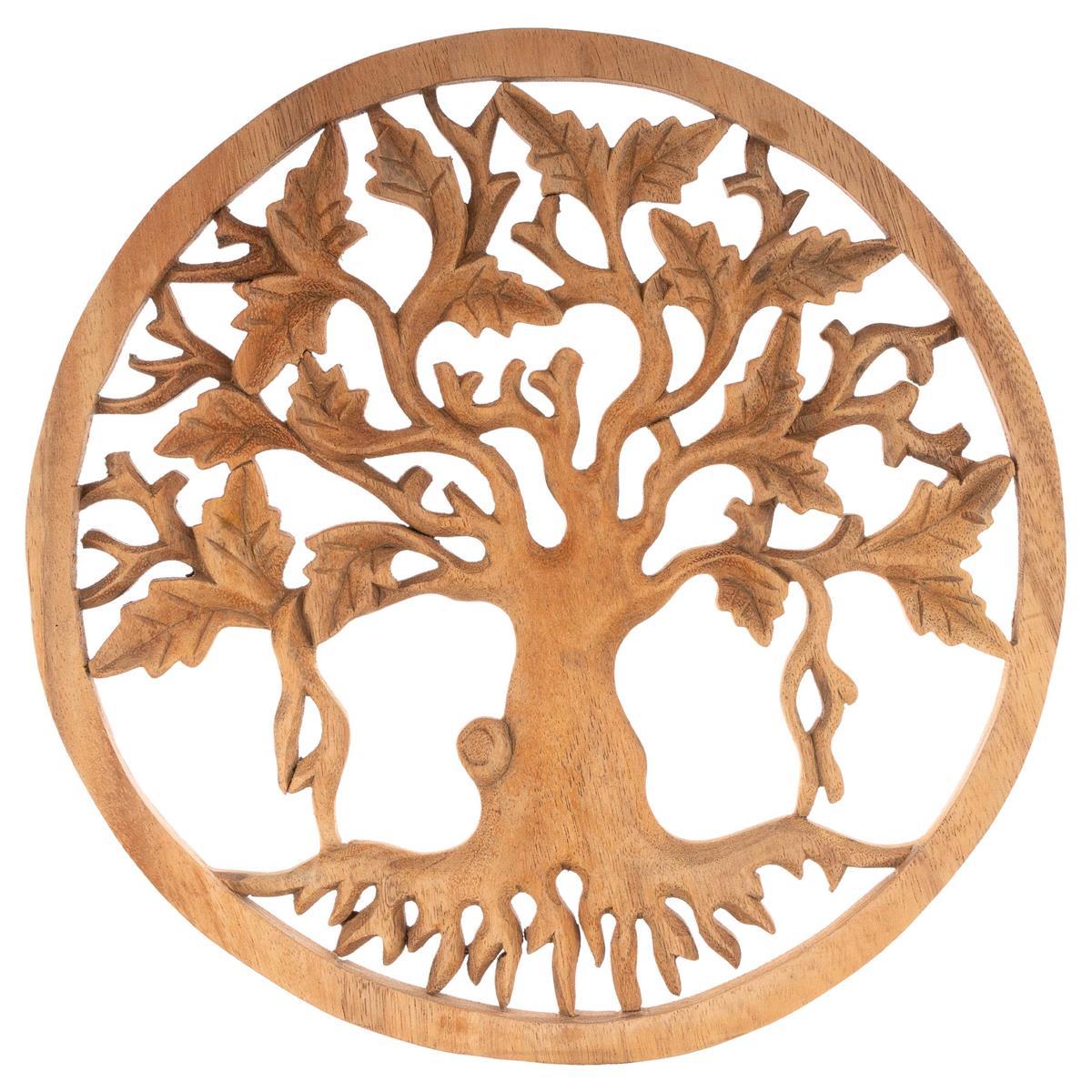 Handgemachtes Wandbild aus Suar Holz Motiv Lebensbaum Wandschmuck Ø 30cm