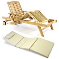 DIVERO Sonnenliege Gartenliege Tablett Teak unbehandelt Auflage creme