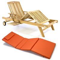 DIVERO Sonnenliege Gartenliege Tablett Teak unbehandelt Auflage orange
