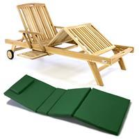 DIVERO Sonnenliege Gartenliege Tablett Teak unbehandelt Auflage dunkelgrün