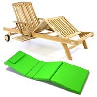 DIVERO Sonnenliege Gartenliege Tablett Teak unbehandelt Auflage hellgrün