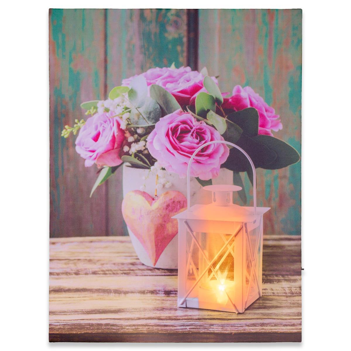 Wandbild mit LED Kunstdruck mit Beleuchtung Rose & Lampe 30x40 cm Batterie Timer